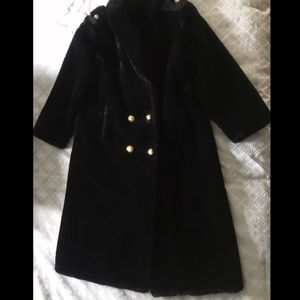 Vintage Glamour Black Carly Monterey Faux Fur Coat